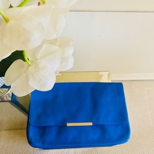 Zara Brilliant Blue Leather Clutch Purse Gorgeous